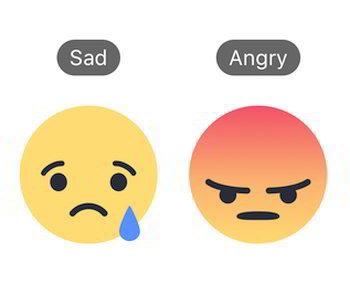 reazioni triste e arrabbiato di facebook